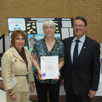 From left Mary Giannetti and Donna Wysokenski of MOC along with Representative Dennis Rosa